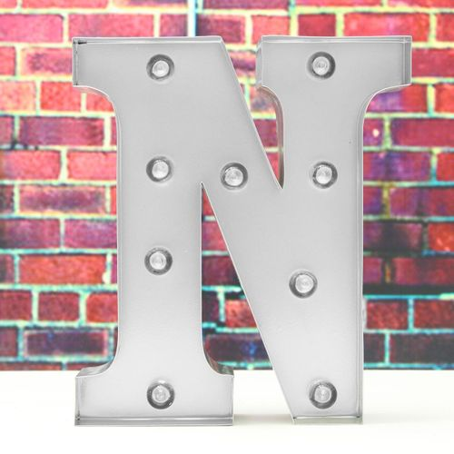 "Silver Metal LED 9"" Marquee Letter Lights Vintage Circus Style Alphabet Light Up"