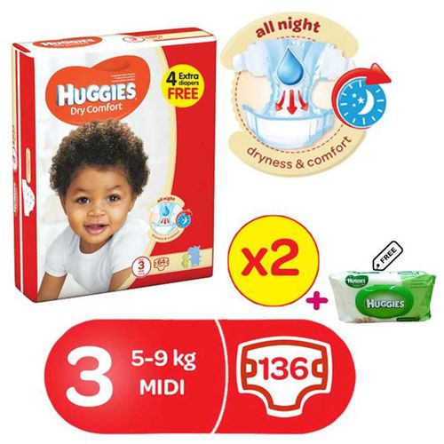 Dry Comfort Diapers Size 3 (64x2) + 1 Huggies Free Wipes Pack