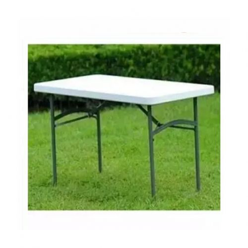 4 Feet Plastic Table With Foldable Metal Legs
