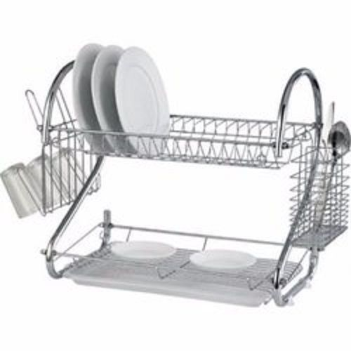 """22"""" Non Rust Stainless Steel Dish Drainer With Cup And Cutlery Holder"""