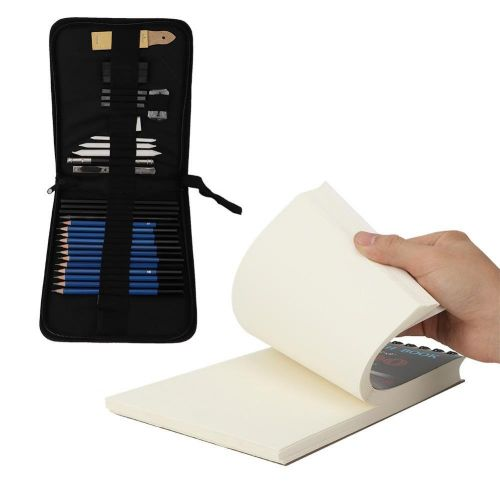34 Pcs Sketch Pencil Pad Set For Professional And Amateur With Nylon Bag