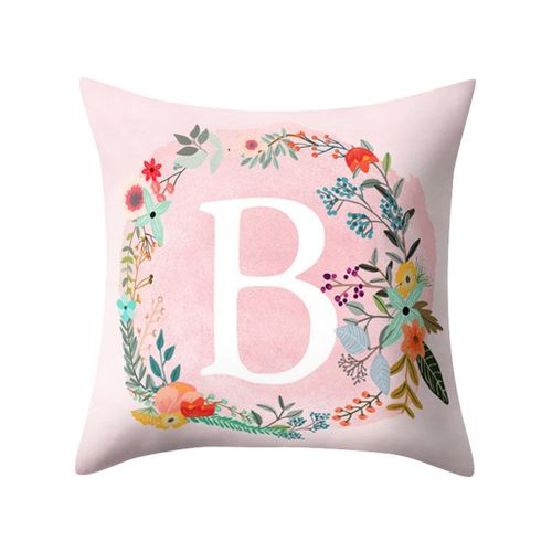 Pink English Alphabet Pillow Printed Sweet Cushions