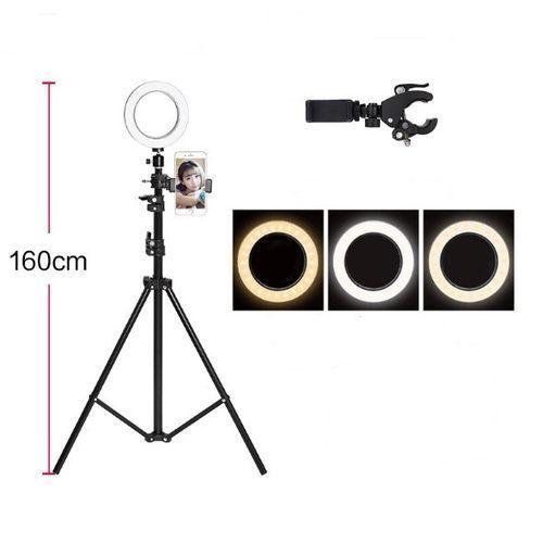 Selfie Ring Light Mobile Phone Holder Stand LED Ring Light Photo Video Live Lamp +Tripod + Phone Holder