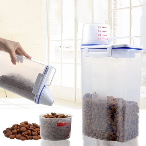 Pet Dog Cat Food Container Seal Storage Buckle Dry Feed Seed 2L Box 180ml