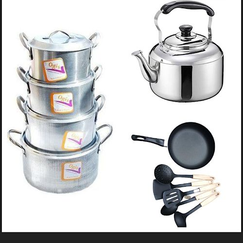 Quality Tower Pots, Frying Pan, Kettle& Non Stick Spoons Set