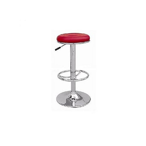 Universal Round Bar Stool With Revolvable And Adjustable Height- RED