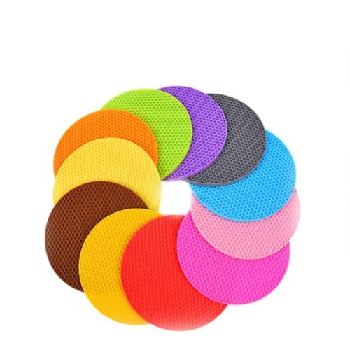 11 Pieces Of Silicone Round Plate Mat