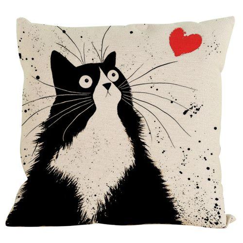 Comfortable Vintage Cat Dog Cotton Pillow Case Sofa Waist Throw Cushion Cover Home Decor