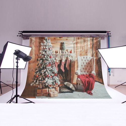 7x5FT Retro Christmas Tree Fireplace Vinyl Photography Background Props Studio 2017 New Arrival