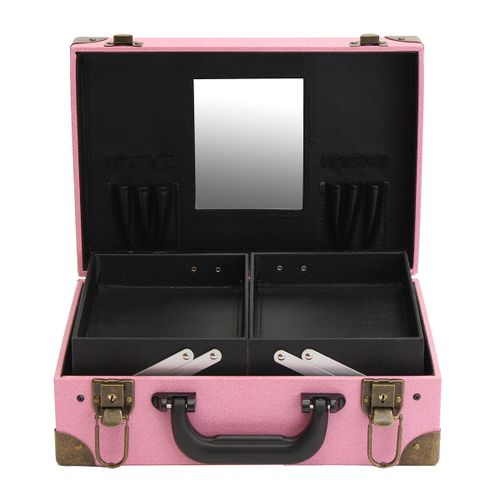PU Leather Cosmetic Case Storage Vanity Bag Handbag Makeup Organiser With Lock