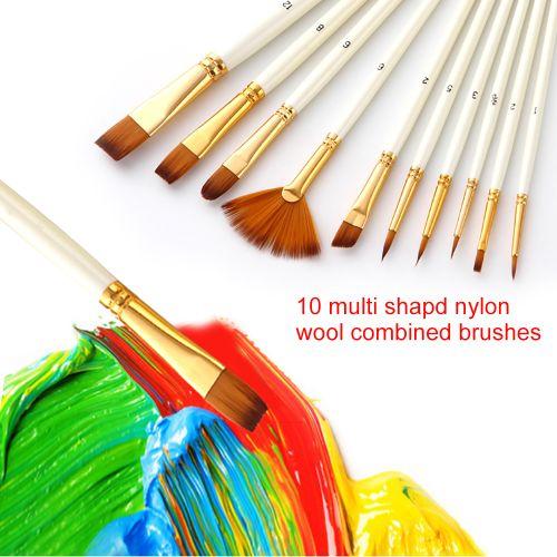 10Pcs Paint Brushes Set Kit Multiple Mediums Brushes With