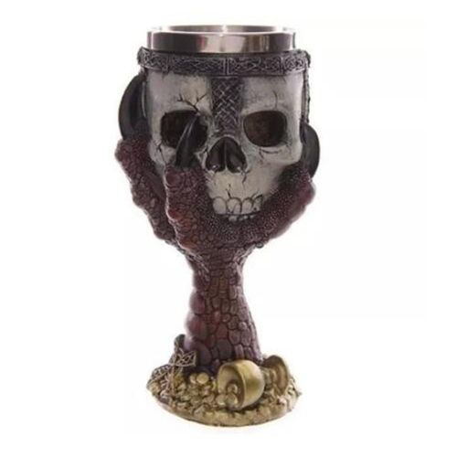Creative Stainless Steel 3D Skull Goblet Beer Mug Drinking Cup Silver