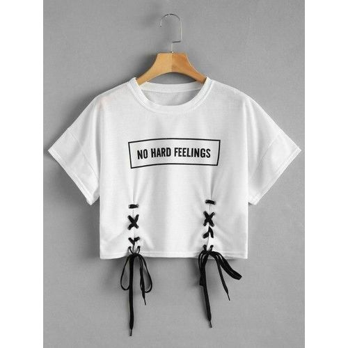 White Female Crop Top With No Hard Feelings Print