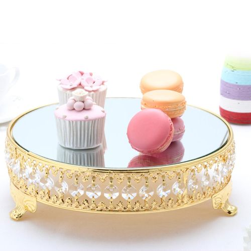 31cm Cake Bake Dessert Stand Round Display Glass Mirror Crystal Wedding Party