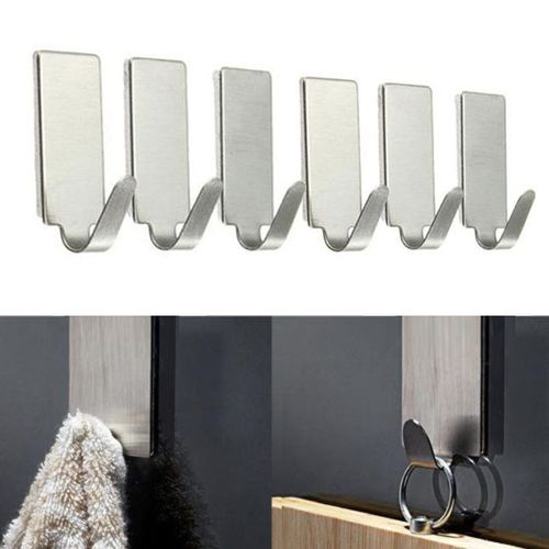 6PCS Self Adhesive Home Kitchen Wall Door Stainless Steel Holder Hook Hanger-Silver