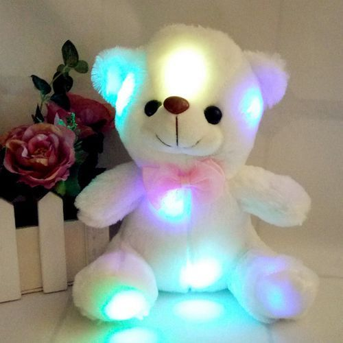Cream Teddy Bear Valentine Gift With Free Rose