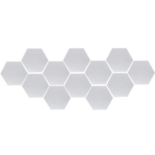 12Pcs 3D Mirror Hexagon Removable Wall Sticker Decal Home Decor Art DIY Set # Silver