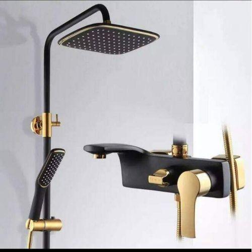 Luxury Standing Shower Tap Bathroom Home Hotel Black/Gold