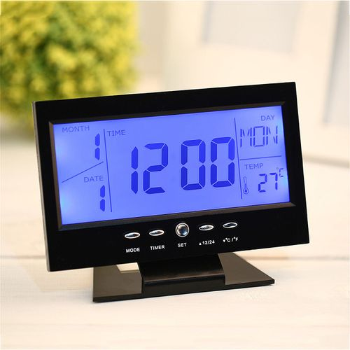 Voice Control Back-light LCD Alarm Weather Monitor Calendar Thermometer Clock !