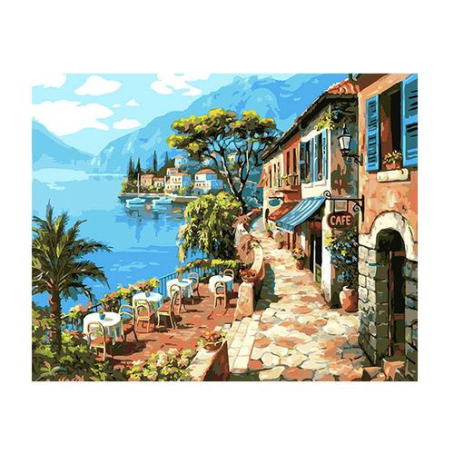 "16X20"" 40x50cm Cafe DIY Paint By Number Linen Oil Painting Canvas Decor US"