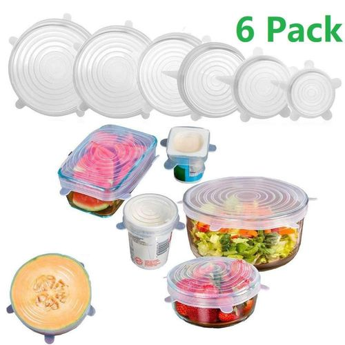 Silicone Reusable Stretch Lid Food Saver Cover- 6pcs