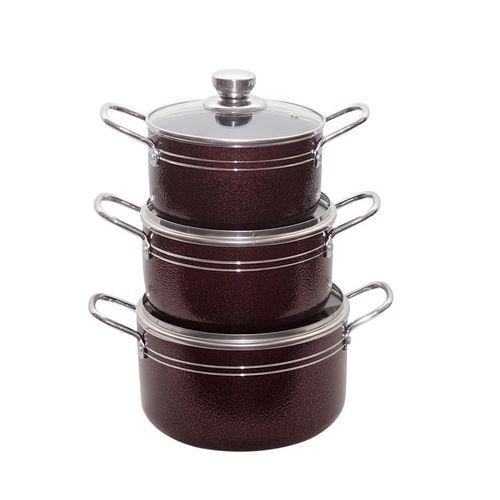 3pcs Nonstick Pots - Red
