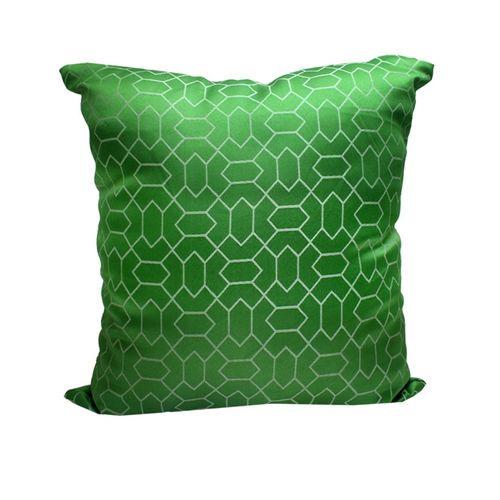Decorative Square Qua Trefoil Print Cushion - Green