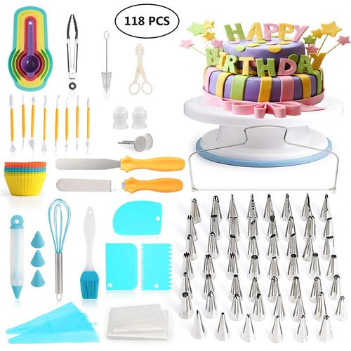 118 Pcs/set Cake Turntable Piping Tip Nozzle Pastry Bag Set
