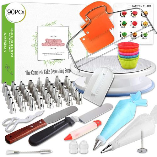 90 Pcs/set Cake Turntable Piping Tip Nozzle Pastry Bag Set