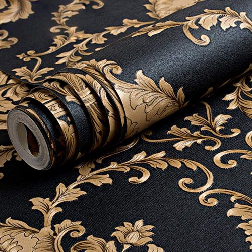 European Luxury Classic Gold And Black Damask Stereo Deep Embossed Wallpaper