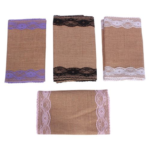 Burlap Lace Hessian Table Runner Natural Jute Rustic Wedding Party Festival Event Decoration
