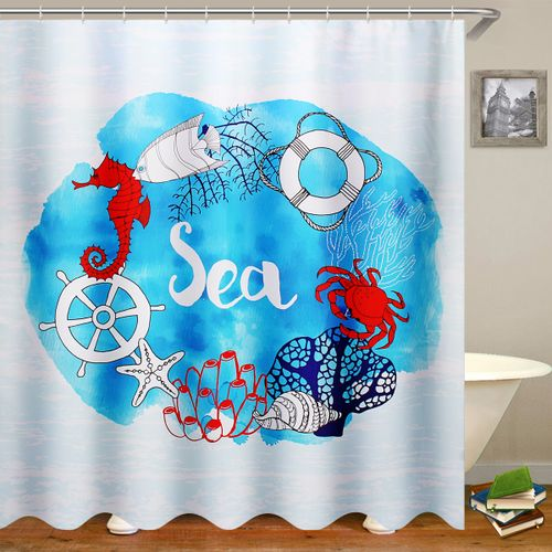 Waterproof Bathroom Shower Curtain Toilet Cover Mat Non-Slip Rug