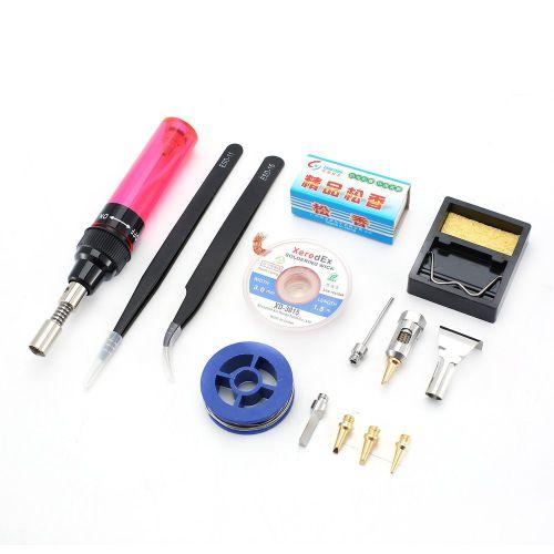 Mini Gas Soldering Iron Set Portable Heating Tool Butane Purple