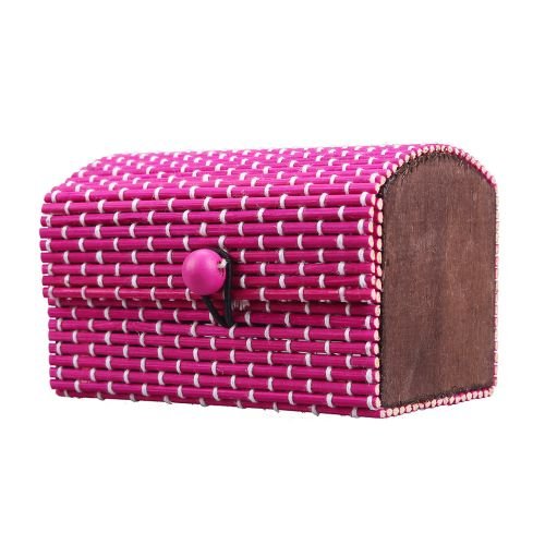 Multifunction Ring Necklace Earrings Bamboo Wooden Jewelry Storage Boxes Hot Pink