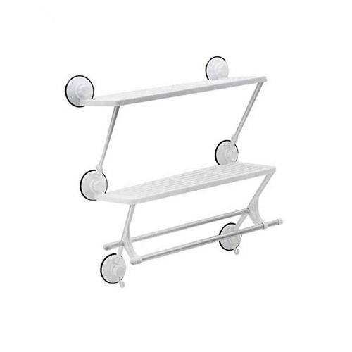 Double Layer Rack With Towel Bar - White