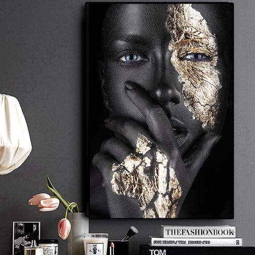Abstract African Art Black And Gold Woman Oil Painting On Canvas Cuadros Posters And Prints Painting