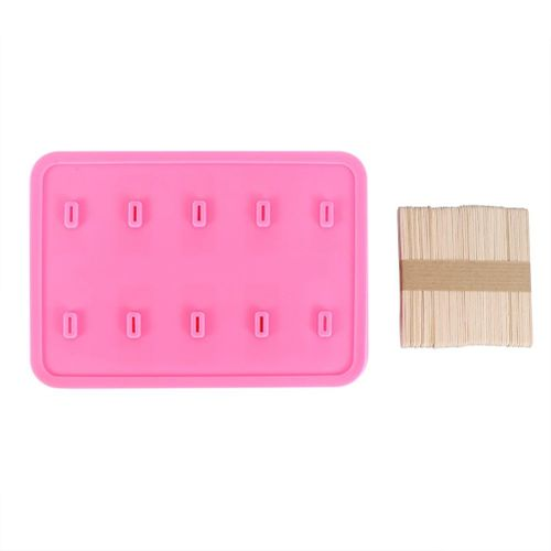 10 Cells Silica Gel Frozen Homemade Food Grade Silicone Ice Cream Mold Popsicle Maker With 50 Sticks DIY Kitchen Tools