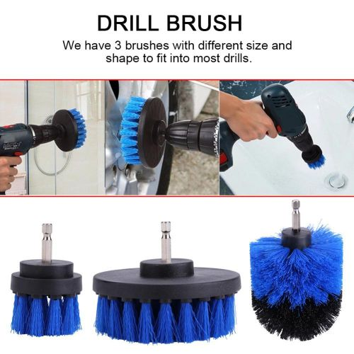 3Pcs/set Tile Grout Cleaner Bathtub Toilet Drill Brush PP Bristles Cleaning Tool