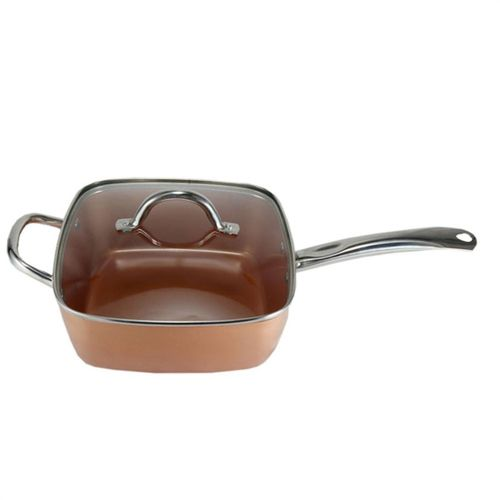 Copper-colored Aluminium Square Cookware Set Nonstick Kitchen Chef Cooking Kit Faster Heating Dishwasher Safe