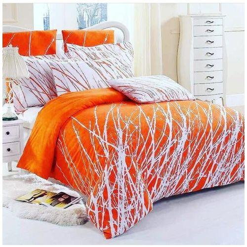 Trendy Bed Sheet With Duvet - White & Orange