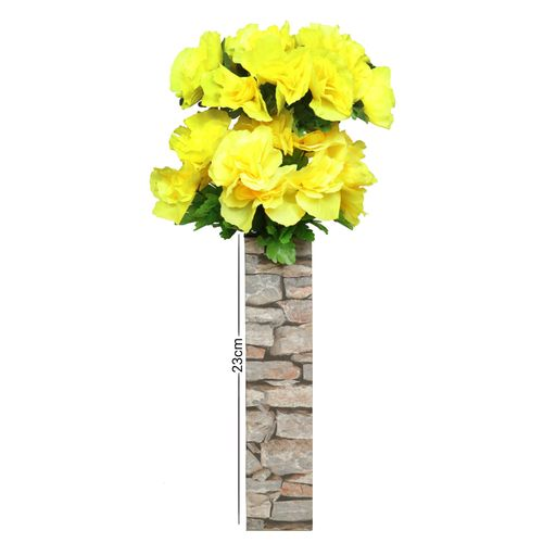 Yellow Rose With Brick Design Standing Wooden Vase