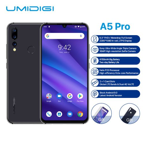 "A5 Pro FHD Fingerprint Smartphone 6.3"" Android 9.0 4GB+32GB - Space Grey"
