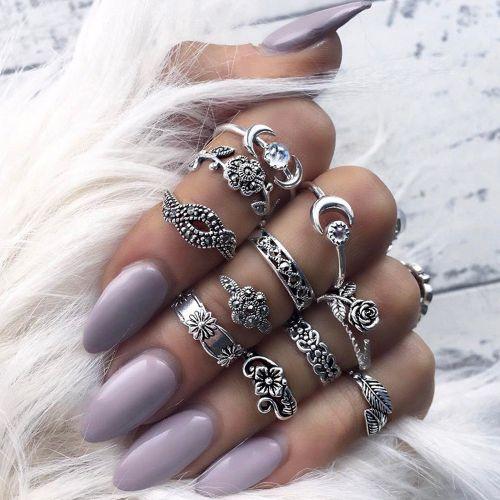 11pcs/Set Women Bohemian Vintage Silver Stack Rings Above Knuckle Blue Rings Set
