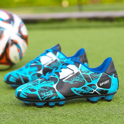 Soccer Boots Long Spikes Mens Football Shoes Sneakers-Blue
