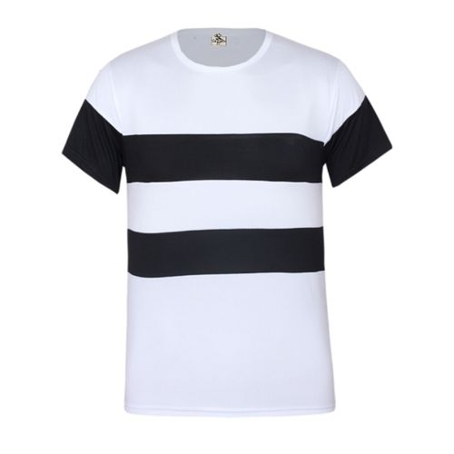 Men's Short Sleeve Round Neck Stripe Tshirt - White