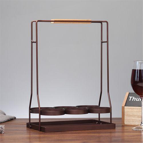 Iron Wood Black&Coffee Finish Wine Rack Holder Organizer Holder Holds 6 Bottles