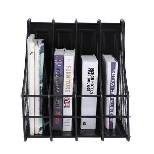 4 Slots Metal Magazine Book File Stand Organizer Sorter Vertical Holder Office Home School