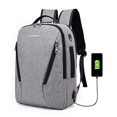 Anti-theft Mens Womens Laptop Notebook Backpack USB Charging Port School Bag New#grey