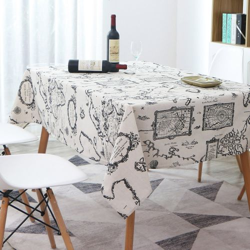 Tablecloth, Rectangle Table Cloth Cotton Linen Wrinkle Free