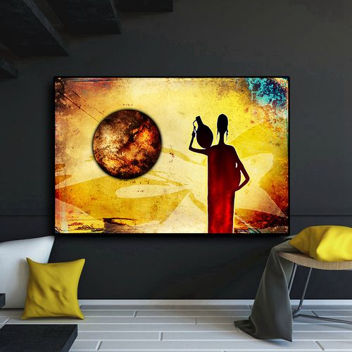 Abstract Woman African Gold Landscape Oil Painting On Canvas Vintage Posters And Prints Cuadros Wall Art Picture For Living Room